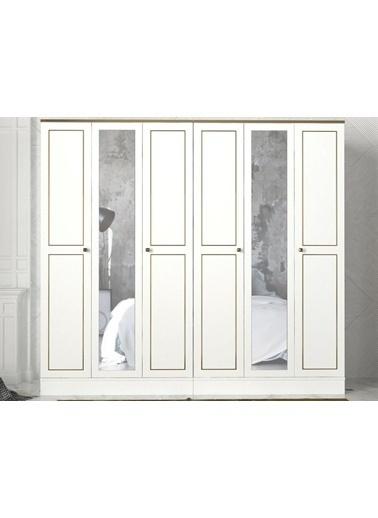 Dekorister Dekorister Exclusive Ravenna Aynalı 5 Kapılı Gardırop Beyaz